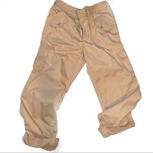 Caribbean Joe cargo khaki capris w/ roll up legs